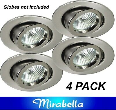 20 x Satin Chrome Gimbal Downlight Fittings 12V MR16 Low Voltage - 90mm Gimble