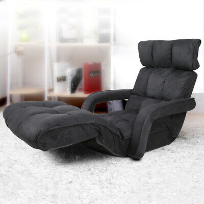Adjustable Lounger Sofa Bed Fabric Floor Lounger Reclining Arm Chair Charcoal