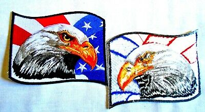 "4""X3"" BALD EAGLE AMERICAN FLAG iron-on EMBROIDERED PATCH USA PATRIOTIC EMBLEM"