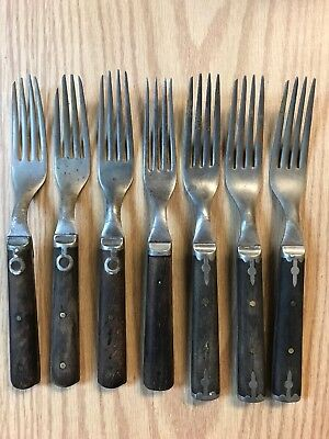 Lot Of 7 Vintage 4 Prong Primitive Civil War Era Forks Utensil