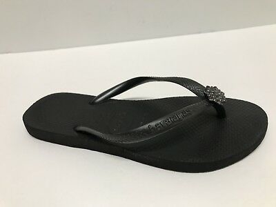 eb971661d974a8 HAVAIANAS SLIM CRYSTAL Poem Rose Black Flip Flops Us 6  Eur 35 -  16.20