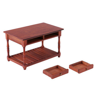 1/12 Scale Dollhouse Miniature Rose Wood Office Table Furniture Model