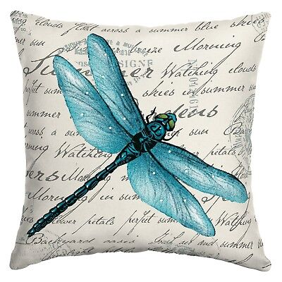 Dragonfly Garden Spring Summer Indoor Outdoor Patio Toss Throw Pillow