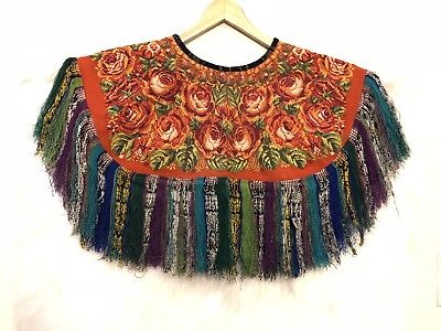 Hand Embroidered shawl, colorful shawl,vintage poncho,handwoven huipil, capelet