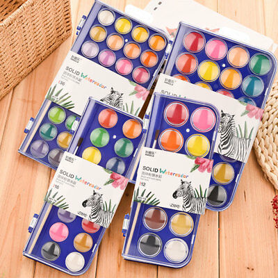 10/12/16/28/36 Colors Art Drawing Solid Watercolor Paints Set Paint Box Portable