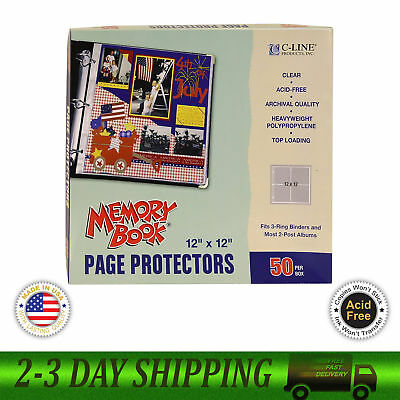 C Line Memory Book 12 x 12 Inch Scrapbook Page Protectors Clear Poly 50 Pages