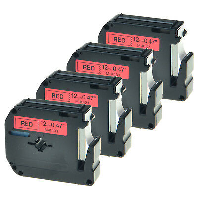 """4 Pack Black on Red Label Tape for Brother P-touch MK431 M-K431 PT-70BMH 1/2"""""""
