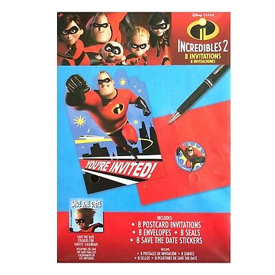 Disney Pixar Incredibles 2 Birthday Party Invitation 16 Count Save The Date NEW