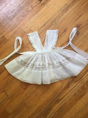 Vintage Toddler Girls Sheer Pinafore with embroidered flowers And Lace 2T