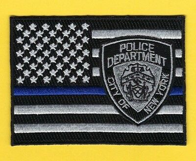 New York City Police Department Thin Blue Line Subdued Flag Patch ~ Outstanding