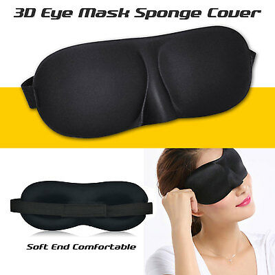 Soft Padded Blindfold 3D Eye Mask Travel Sleep Aid Shade Cover Unisex Black