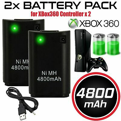 2x FOR XBOX 360 4800MAH RECHARGEABLE BATTERY PACK PLUG PLAY CHARGER CABLE