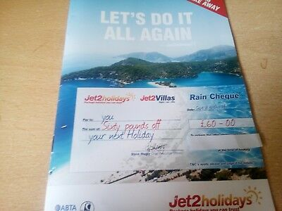 Jet2 £60 Rain Cheque Voucher Holidays Villas Discount Code emailed Fast & Free
