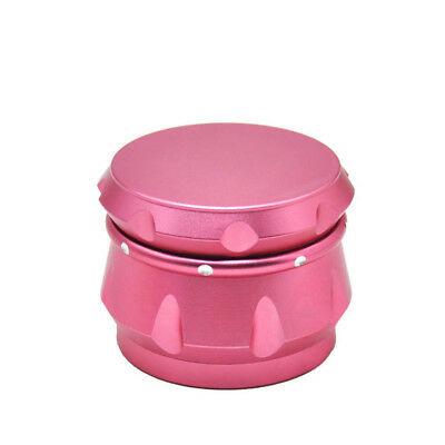 1 X Aluminum Spice Crusher Drum 2.5 inch 4 Layers Tobacco Herb Grinder - Pink