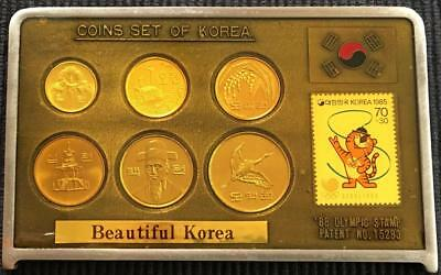 1988 Olympic Games Seoul South Korea Coin of Korea with Stamp Set Seldom Offered