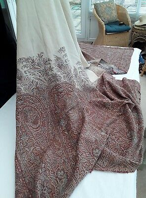 Large Antique Woven Paisley Shawl / Cover