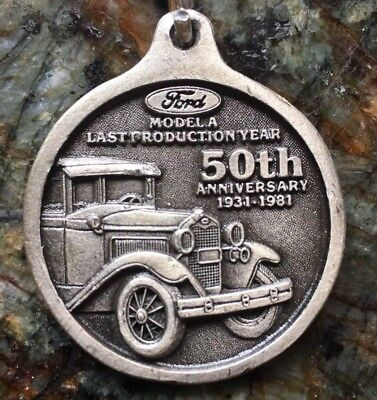 Model A Ford 50th Anniversary Pewter Key Chain. A HARD TO FIND BEAUTY +NR!