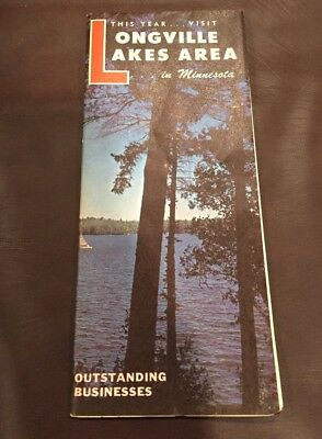 VINTAGE 1964 LONGVILLE WOMAN And LEECH LAKE MINNESOTA LAKES BROCHURE MAP