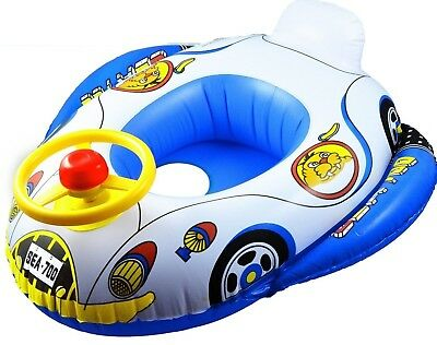 Inflatable Baby/Toddler Swim Ring Float Trainer Seat Car With Steering Wheel