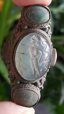 Antiquities Antique Very Old Knight Warrior King Intaglio Agate Bronze Ring