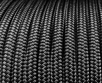 50m x 6mm SOLID BLACK Rope - Double Braid Polyester for Yacht Boat & Marine