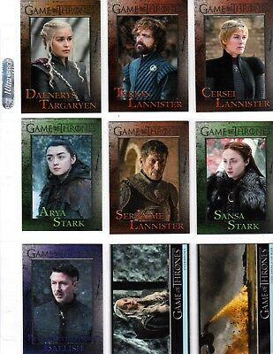 Game of Thrones season 7 Base  set  complete 81 card  + PROMO P1 +WRAPPERS