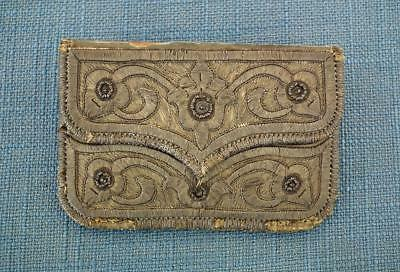 Antique Embroidery  Islamic Turkish Ottoman Silver Embroidered Coin Wallet