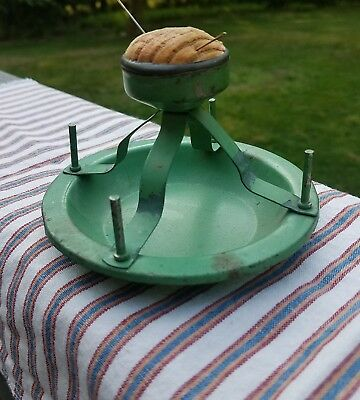 EARLY Antique Metal Sewing Notion Pin Cushion and Spool Thread Holder Sawdust