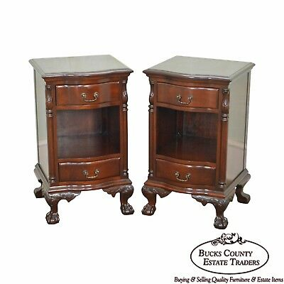 Chippendale 1940s Pair of Solid Mahogany Ball & Claw Nightstands by Continental
