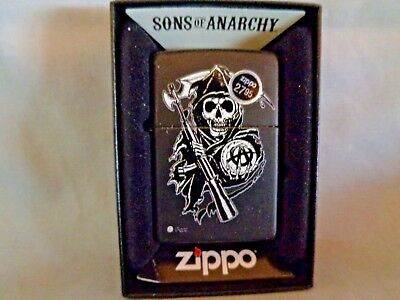 Zippo - Sons Of Anarchy Black Matte Grim Reaper Lighter - # 28504, New In Box