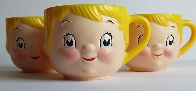 Lot of 3 - Vintage Campbell's Soup Kids - Creepy Face/Head Plastic Mugs - Blonde