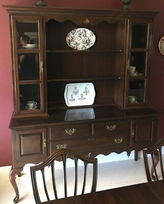 Ethan Allen | Georgian Court Cherry Chippendale Buffet Sideboard Server w/ Hutch
