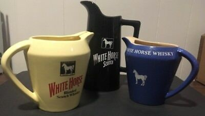 White Horse Whisky/Scotch Lot Is 3 Vintage Water Jars/Pitchers