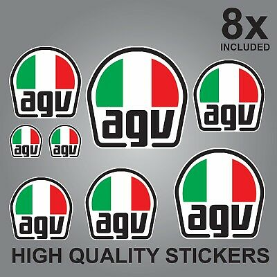 8x AGV HELMET STICKER SHEET DECALS STICKERS VINYL SPONSOR KIT BIKE MOTORCYCLE