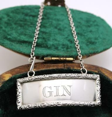 Antique Sterling Gin Liquor Decanter Label JB CALDWELL & CO.
