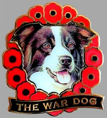 Border Collie War Dog Remembrance Day Poppy Enamel Pin Badge