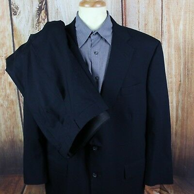 Brooks Brothers Mens Suit 48 R Navy Blue Two Button Worsted Wool 42x28 Single