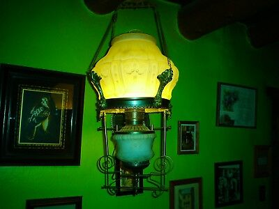 1880 Antique Victorian Electrified Ceiling Light Fixture Glass Hanging Oil Lamp