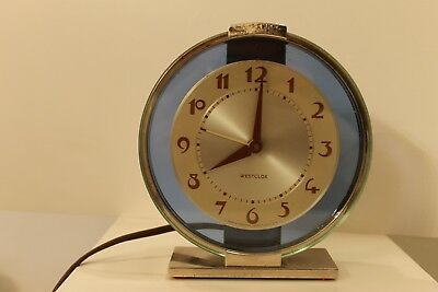 Vintage Westclox Andover S2-L  Art Deco Chrome & Glass W/Blue Halo Shelf Clock
