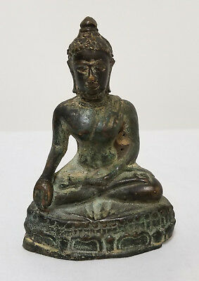 Antique Early South East Asian Bronze Thai Burmese Buddha Figure Statue