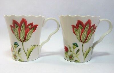 222 Fifth Bella Donna Set Of 2 Cups Floral Scalloped Porcelain 1 Has Small Chip