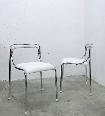 PAIR OF VINTAGE 70s 80s ITALIAN MODERNIST CHROME AND FAUX LEATHER DINING CHAIRS