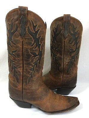 Red Ranch Western Boots Vintage Womens 8.5 M Brown Leather With Inlay Design