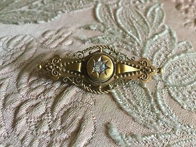 Antique EDWARDIAN White Sapphire 15ct GOLD BROOCH - Hallmarks for Chester F.B.