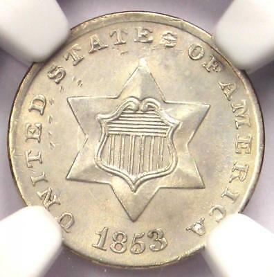 1853 Three Cent Silver Piece 3CS - NGC Uncirculated Details (MS UNC) - Rare Coin