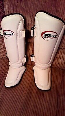 Twins Special White Slim Padded Muay Thai Shin Guards Size large