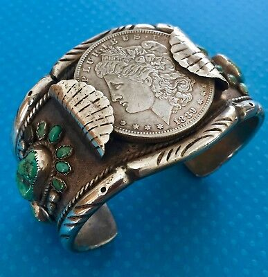 Vintage Sterling Silver & Turquoise RTG Navajo 1889 Silver Dollar CUFF BRACELET