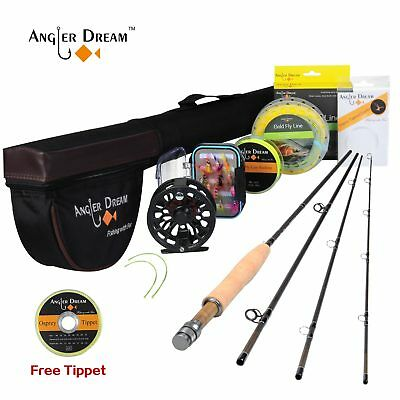 3/5/8WT Fly Fishing Rod Combo Carbon Fiber Fly Rod,CNC Machined Reel,Free Tippet
