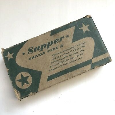 WW2 US Army US Marine Corps K Ration SUPPER Complete SEALED Box VINTAGE Original