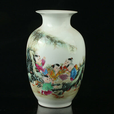 China Porcelain Hand-Painted Children Vase Mark As The Qianlong Period R1027